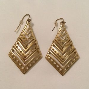 // GOLD THREE-TIERED AZTEC EARRINGS //